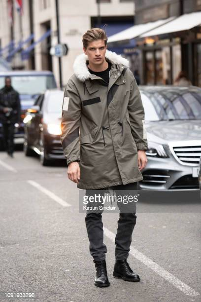 Model Toby HuntingdonWhiteley wears a Belstaff jacket Levi's jeans and Dr Martens boots during London Fashion Week Men's January 2019 on January 07...