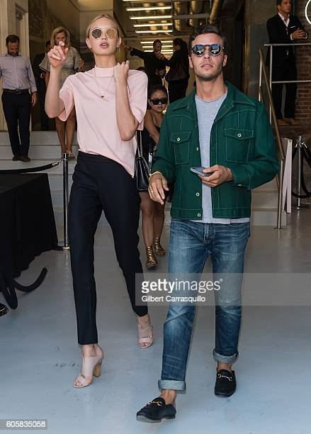 Model Toni Garrn and brother Niklas Garrn are seen arriving at Boss Womenswear fashion show during New York Fashion Week September 2016 at The...