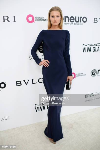 Model Toni Garrn attends the 25th Annual Elton John AIDS Foundation's Academy Awards Viewing Party at The City of West Hollywood Park on February 26...