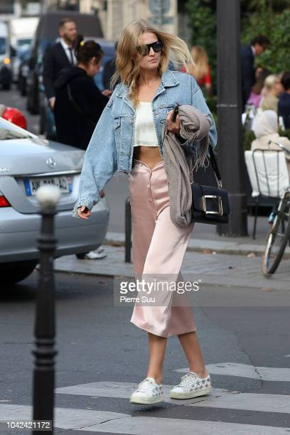 Model Toni Garrn is seen on the avenue Montaigne on September 28 2018 in Paris France