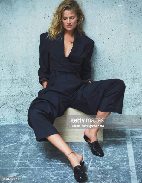 Model Toni Garrn poses at a fashion shoot for Madame Figaro on September 5 2017 in Paris France Jacket and pants shoes PUBLISHED IMAGE CREDIT MUST...