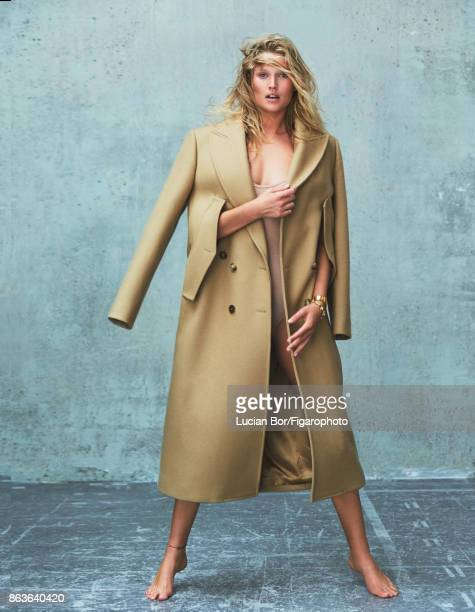 Model Toni Garrn poses at a fashion shoot for Madame Figaro on September 5 2017 in Paris France Coat body bangle bracelet CREDIT MUST READ Lucian...