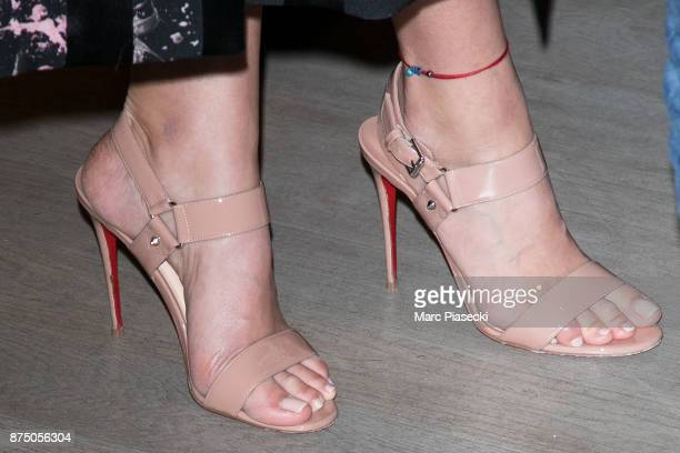 Model Toni Garrn shoe detail attends the 'Vestiaire Collective x Toni Garrn' charity sale to benefit TGarrn Foundation on November 16 2017 in Paris...