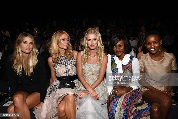 Model Tori Praver Paris Hilton Nicky Hilton Rothschild Rosemary Kokuhilwa and Flaviana Matata attend Dennis Basso Spring 2016 during New York Fashion...