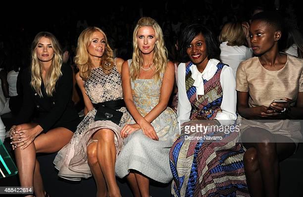 Model Tori Praver Paris Hilton Nicky Hilton Rothschild Rosemary Kokuhilwa and Flaviana Matata attend Dennis Basso Front Row Backstage Spring 2016 New...