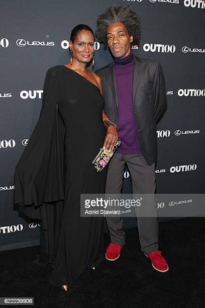 Model Tracey Norman and Designer Douglas Says attend the 2016 OUT100 Gala at Metropolitan West on November 10 2016 in New York City