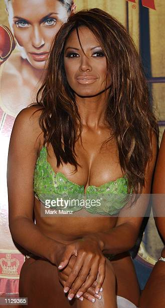 Model Traci Bingham wears a lettuce bikini at the launch of PETA's BareAll Summer Campaign July 11 2002 at Suite 16 in New York City Traci Bingham...