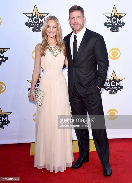 Model Tracy Ripsin and TV personality/retired NFL player Troy Aikman attend the 50th Academy of Country Music Awards at ATT Stadium on April 19 2015...