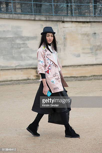 Model Trang Cong Khanh on day 4 during Paris Fashion Week Autumn/Winter 2016/17 on March 4 2016 in Paris France