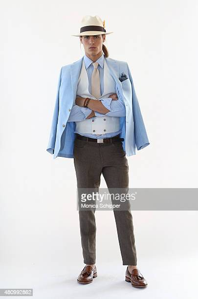 Model Travis Smith before at the Hickey Freeman presentation during New York Fashion Week: Men's S/S 2016 at The Standard, East Village on July 16,...