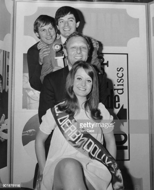 Model Tricia Madden wins the title of Radio One 'Disc Jockey Derby Dolly' at the BBC's Paris Studio in Lower Regent Street London and poses with disc...