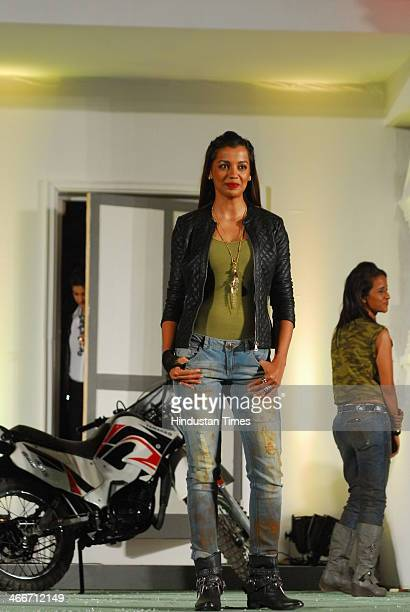 Model turned actress Mugdha Godse during the announcement of Colors reality show Fear Factor Khatron Ke Khiladi Season 5 on January 31 2014 in Mumbai...
