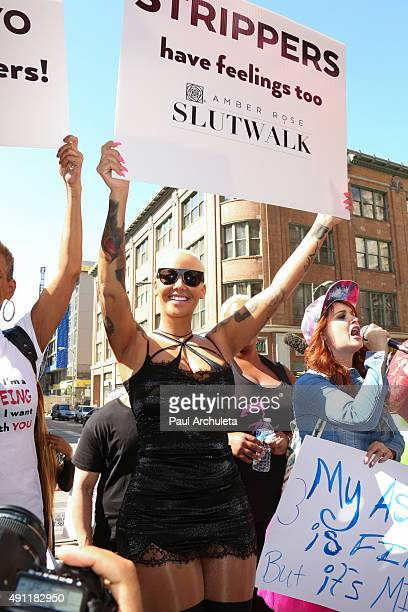 Model / TV Personality Amber Rose attends the SlutWalk LA at Pershing Square on October 3 2015 in Los Angeles California