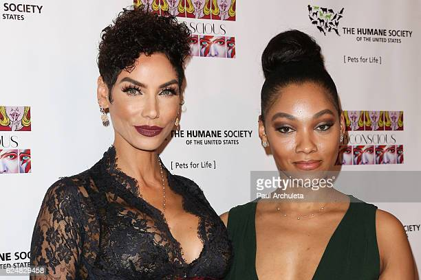 """Model / TV Personality Nicole Murphy and Daughter Artist / Actress Bria Murphy attend the debut gallery opening of Bria Murphy's """"Subconscious"""" at..."""