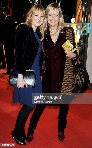 Model Twiggy Lawson and daughter Carly Lawson attend the UK film premiere of 'Australia' at Odeon Leicester Square December 10 2008 in London England