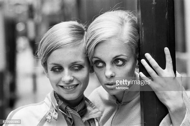 Model Twiggy seen here modelling a mini dress with her Swedish 'double' Kerstin Lindberg on Little Portland Street, London. Sixteen-year-old...