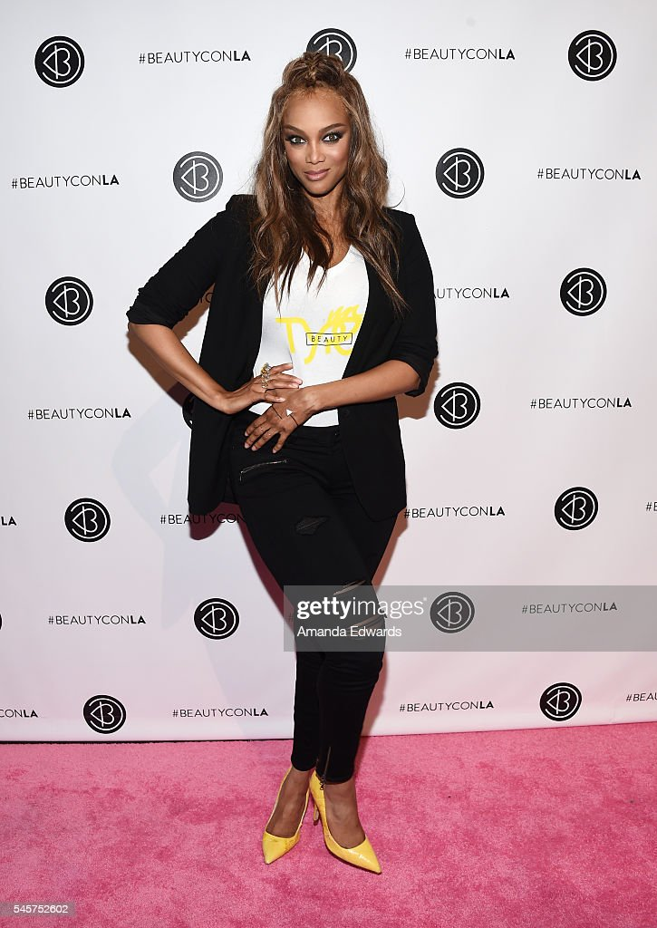 Model Tyra Banks arrives at the 4th Annual Beautycon Festival Los Angeles at the Los Angeles Convention Center on July 9, 2016 in Los Angeles, California.