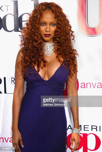 Model Tyra Banks arrives at the Finale Party for UPN's 'America's Next Top Model' on December 15 2004 at The Ivar in Hollywood California