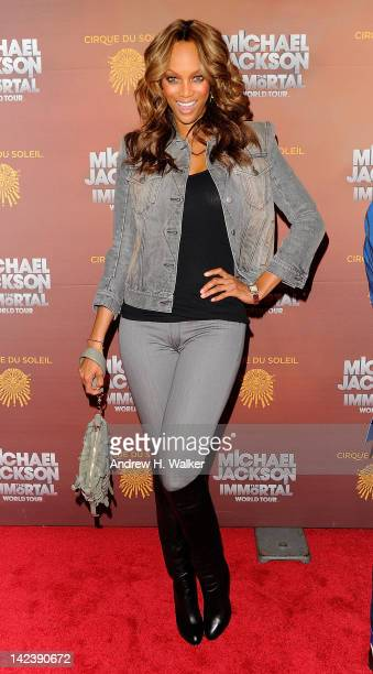 Model Tyra Banks attends Cirque du Soleil's Michael Jackson THE IMMORTAL World Tour New York Premiere Arrivals at Madison Square Garden on April 3...