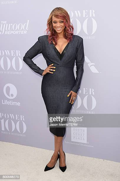 Model Tyra Banks attends the 24th annual Women in Entertainment Breakfast hosted by The Hollywood Reporter at Milk Studios on December 9 2015 in Los...