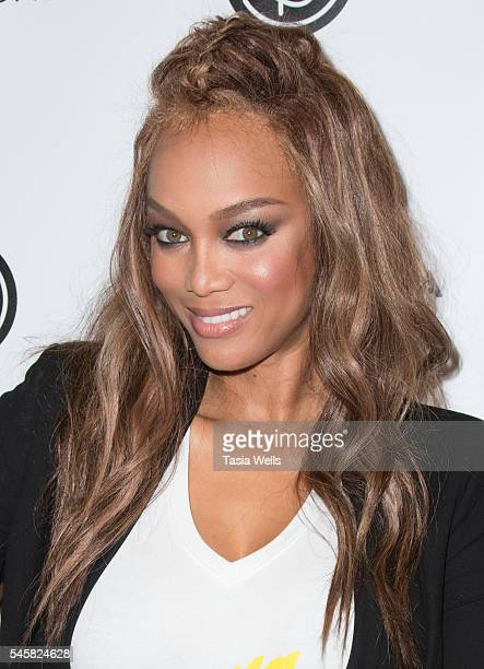 Model Tyra Banks attends the 4th Annual Beautycon Festival Los Angeles at the Los Angeles Convention Center on July 9 2016 in Los Angeles California