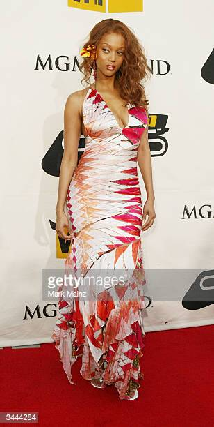 Model Tyra Banks attends the 7th Annual VH1 Divas Concert Benefiting The Save The Music Foundation at the MGM Grand Garden Arena April 18 2004 in Las...