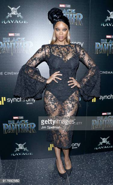 Model Tyra Banks attends the screening of Marvel Studios' 'Black Panther' hosted by The Cinema Society with Ravage Wines and Synchrony at Museum of...