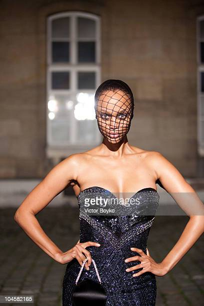 Model Tyra Banks attends the Vogue 90th Anniversary Party as part of Ready to Wear Spring/Summer 2011 Paris Fashion Week at Hotel Pozzo di Borgo on...