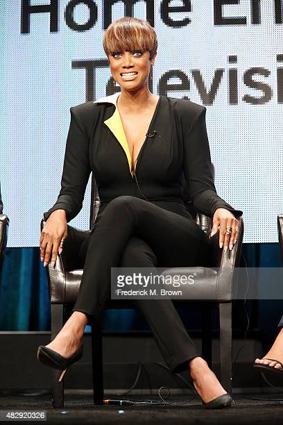 Model Tyra Banks speaks during the 2015 Summer TCA Press Tour at The Beverly Hilton Hotel on August 4 2015 in Beverly Hills California