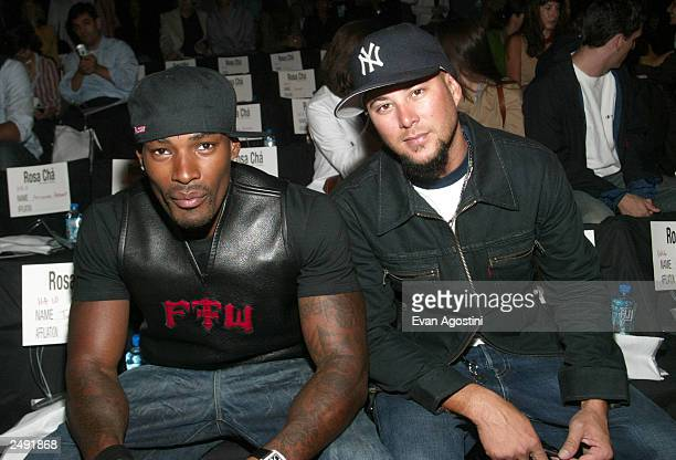 Model Tyson Beckford and dancer Chris Judd during the Rosa Cha by Amir Slama Spring/Summer 2004 Collection at Bryant Park during the 7th on Sixth...