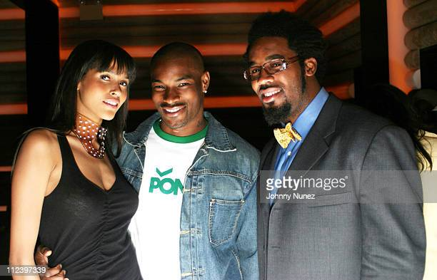 Model, Tyson Beckford and Dhania Jones during Vibe Magazine 10th Anniversary Fashion Party at Cielo in New York City, New York, United States.