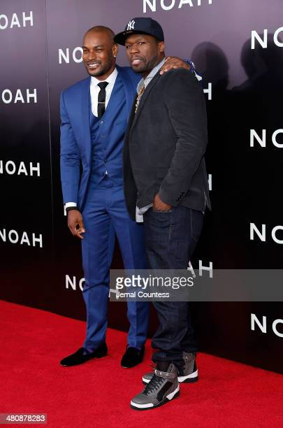 Model Tyson Beckford and rapper Curtis '50 Cent' Jackson attend the New York Premiere of 'Noah' at Clearview Ziegfeld Theatre on March 26 2014 in New...