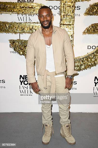 Model Tyson Beckford attends the Dockers x CFDA NYFWM Opening Party during New York Fashion Week Men's Fall/Winter 2016 at ArtBeam on February 1 2016...