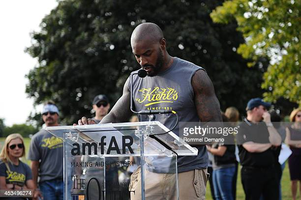 Model Tyson Beckford attends the The AIDS Memorial Quilt returns to NYC as part of the 5th annual Kiehl's LifeRide for amfAR at Governors Island on...