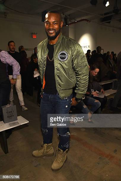 Model Tyson Beckford attends the Todd Snyder fashion show during New York Fashion Week Men's Fall/Winter 2016 at Skylight at Clarkson Sq on February...