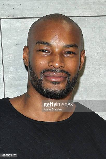 Model Tyson Beckford poses backstage at the David Tlale fashion show during MercedesBenz Fashion Week Fall 2015 at The Pavilion at Lincoln Center on...