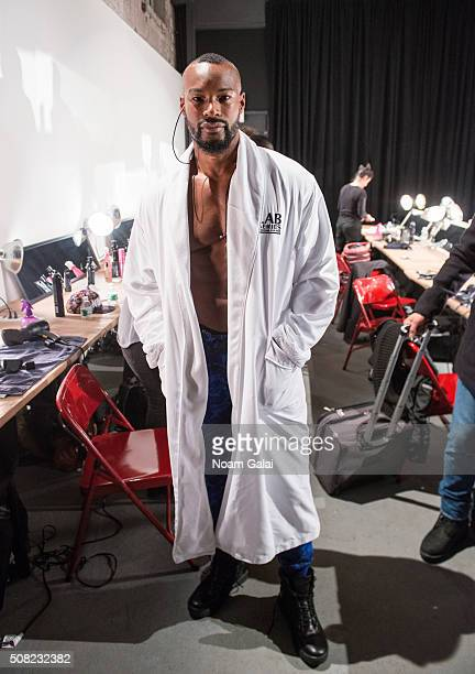 Model Tyson Beckford poses backstage at the Greg Lauren presentation during New York Fashion Week Men's Fall/Winter 2016 at ArtBeam on February 3...