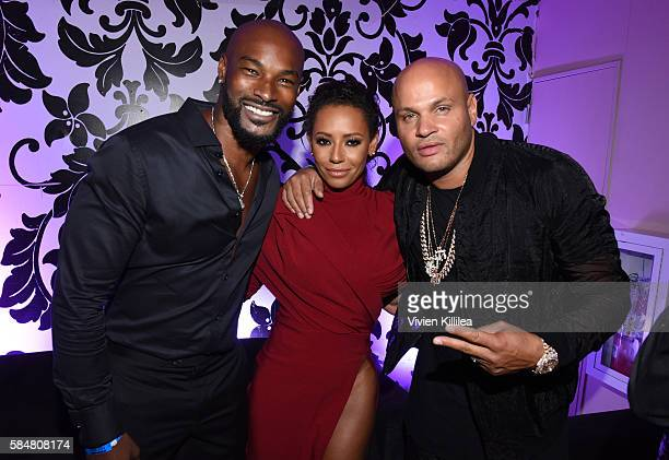 Model Tyson Beckford recording artist Mel B and producer Stephen Belafonte attend the 2016 MAXIM Hot 100 Party at the Hollywood Palladium on July 30...