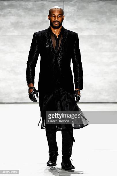 Model Tyson Beckford walks the runway at the David Tlale fashion show during Mercedes-Benz Fashion Week Fall 2015 at The Pavilion at Lincoln Center...