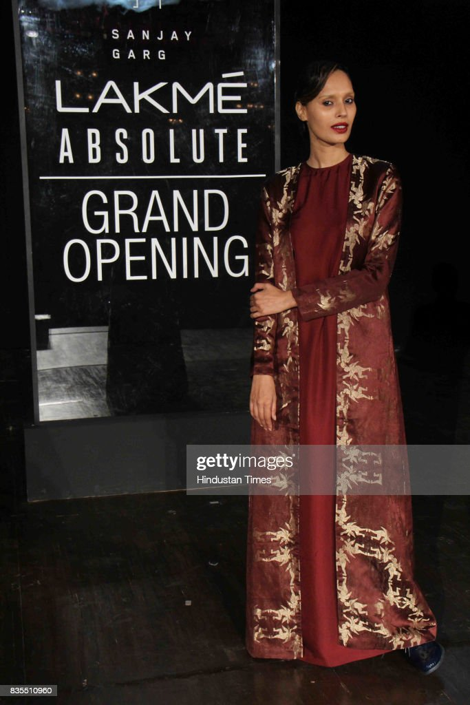 Model Ujjwala Raut showcases the collection of designer Sanjay Garg during the Lakme Fashion Week 2017, at Royal Opera House, on August 16, 2017 in Mumbai, India.