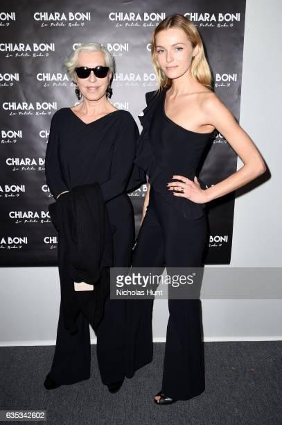 Model Valentina Zelyaeva and designer Chiara Boni pose backstage for the Chiara Boni La Petite Robe collection during New York Fashion Week The Shows...