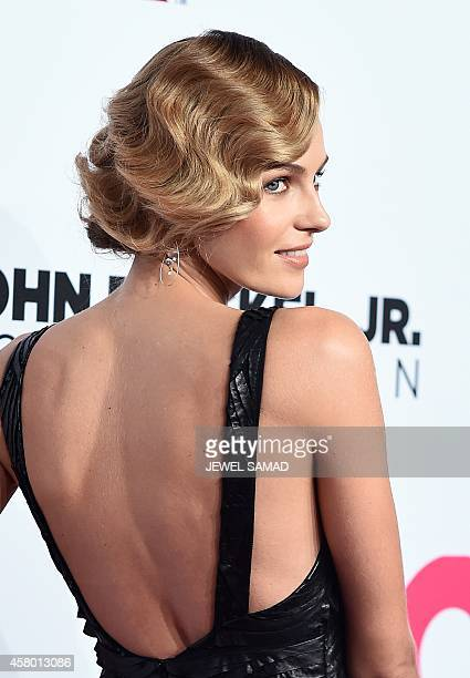Model Valentina Zelyaeva arrives to attend the Elton John AIDS Foundation's 13th Annual An Enduring Vision Benefit on October 28 2014 in New York AFP...
