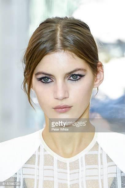 Model Valery Kaufman beauty runway detail walks the runway during the Louis Vuitton show as part of the Paris Fashion Week Womenswear Spring/Summer...