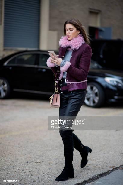 Model Valery Kaufman seen outside Ralph Lauren on February 12 2018 in New York City