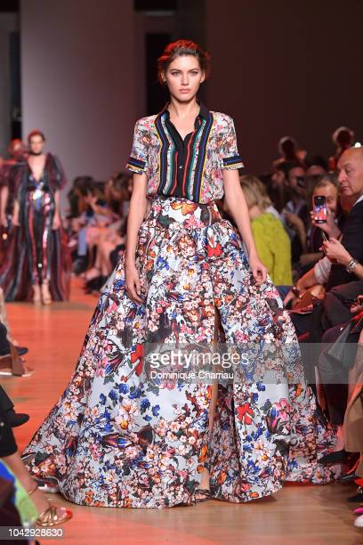 Model Valery Kaufman walks the runway during the Elie Saab show as part of the Paris Fashion Week Womenswear Spring/Summer 2019 on September 29 2018...