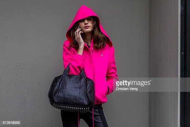 Model Valery Kaufman wearing a pink hoody seen outside Dolce Gabbana during Milan Fashion Week Fall/Winter 2016/17 on February 28 in Milan Italy