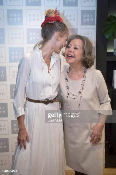 Model Vanesa Lorenzo and Estrella Pujol Director of Oxigen attend anniversary Party of Oxigen at Restaurante La Farga on April 18 2018 in Barcelona...