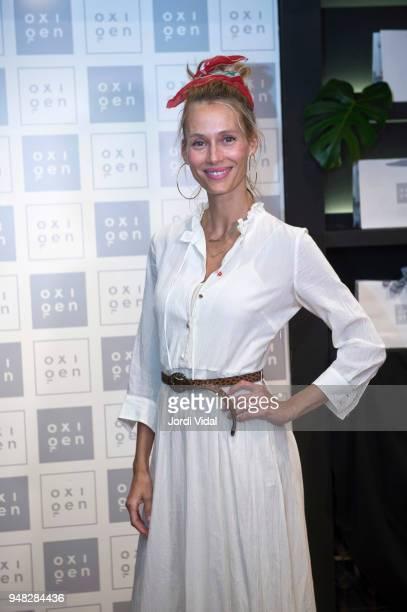 Model Vanesa Lorenzo attends anniversary Party of Oxigen at Restaurante La Farga on April 18 2018 in Barcelona Spain