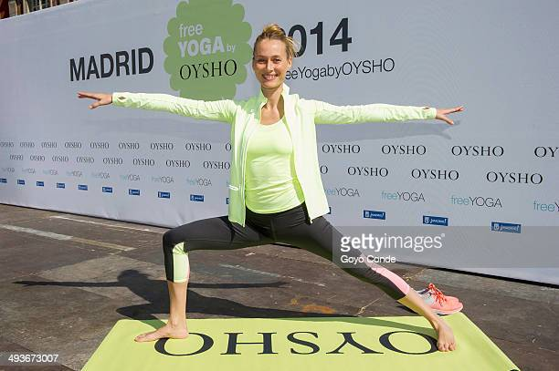 Model Vanesa Lorenzo does yoga at the Plaza Mayor on May 24 2014 in Madrid Spain