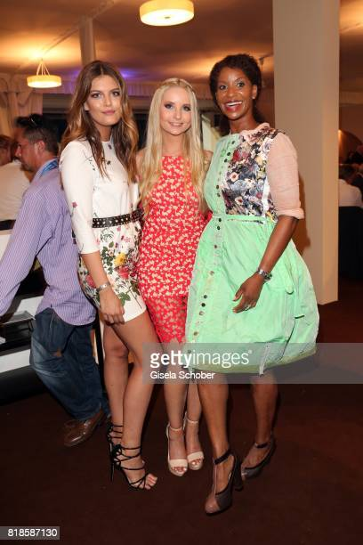 Model Vanessa Fuchs Anna Hiltrop and Liz Baffoe during the media night of the CHIO 2017 on July 18 2017 in Aachen Germany